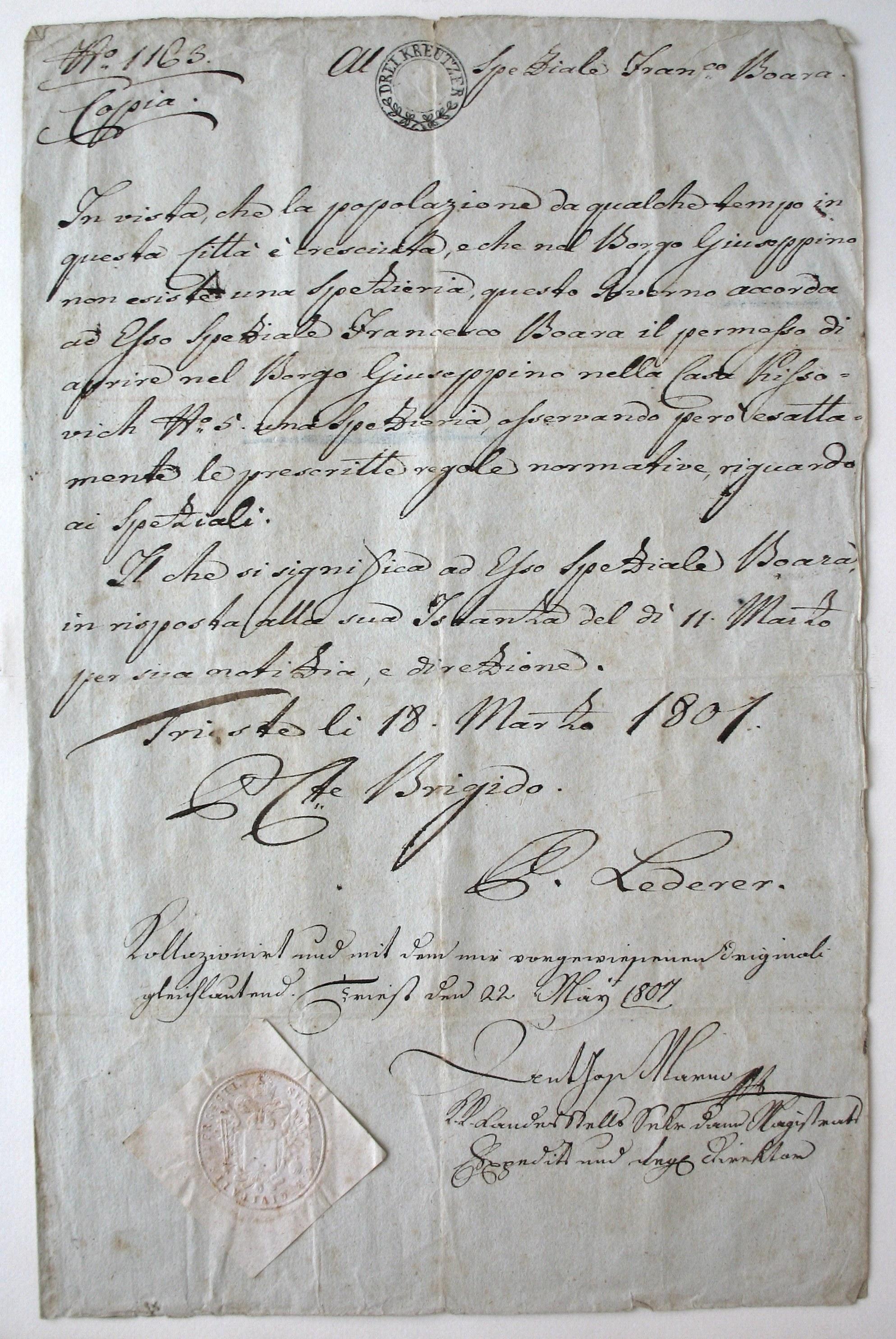 atto costitutivo 1801